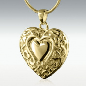 Loves Embrace Heart 14k Gold Vermeil Cremation Jewellery