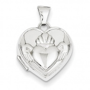 14k White Gold Polished Heart-Shaped Claddagh Locket
