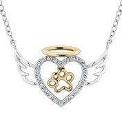 ASPCA(R) Tender Voices Two-Tone Diamond Angel Heart and Paw Pendant 1/10ctw
