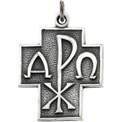 Sterling Silver Alpha Omega Chi-Rho Cross Necklace, 61cm