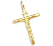 14k Yellow Gold Cross Crucifix Pendant Charm NEW