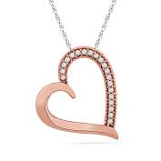 10KT Pink Gold Round Diamond Heart Pendant