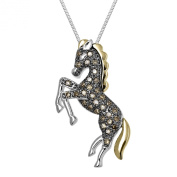XPY Sterling Silver and 14k Yellow Gold Brown Diamond Horse Pendant Necklace, 45.7cm