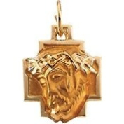 14K Yellow Gold 12.00X12mm Head Of Jesus With Crown Cross Pendant