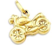 14k Yellow Gold Harley Motorcycle Charm Pendant New