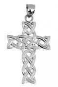 14K White Gold Celtic Trinity Cross Pendant
