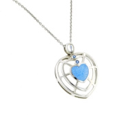 Gorgeous sterling silver open heart necklace with blue topaz and moonstone with presentation box