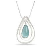Ancient Roman Glass Necklace with Teardrop Pendant Aqua Sea Blue Colour Solid