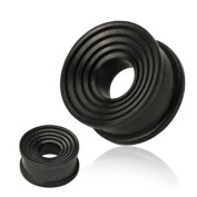 Organic Areng Ebony Wood Ring Grooves Concave Double Flat Flared Tunnel Plug - 2G - 8mm - Sold as a Pair