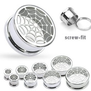 316L Surgical Steel Hollow Spider-Web Screw Fit Tunnel - 0G - 8mm - Sold as a Pair