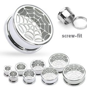 316L Surgical Steel Hollow Spider-Web Screw Fit Tunnel - 00G - 10mm - Sold as a Pair