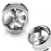 """316L Surgical Steel Spinning Pinwheel Fan Double Flare Tunnels - 1/2"""" - 12mm - Sold as a Pair"""