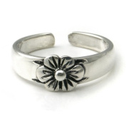 Sterling Silver Hawaiian Plumeria Flower Adjustable Toe Band Ring