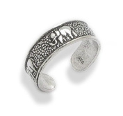 Antiqued Elephant Sterling Silver Marching Elephants Toe Ring or Adjustable Pinky Ring