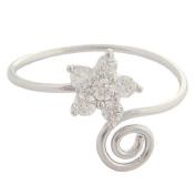 Hawaiian Jewellery Sterling Silver CZ Flower Toe Ring