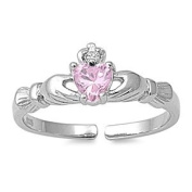Sterling Silver Pink Claddagh Toe Ring