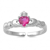 Sterling Silver Ruby Claddagh Toe Ring