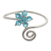Hawaiian Jewellery Blue CZ Plumeria Flower Toe Ring from Hawaii