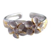 Hawaiian Sterling Silver Two Plumeria Flower CZ Toe Ring Jewellery