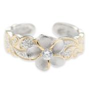 Hawaiian Sterling Silver Plumeria Flower CZ Toe Ring Jewellery