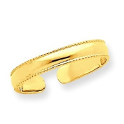 14k Yellow Gold Mill Grain Adjustable Toe Ring. Gold Wt- 0.7g.