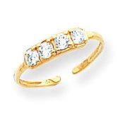 14k Yellow Gold CZ Toe Ring. Gold Weight- 0.68g.