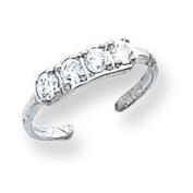 14k White Gold CZ Toe Ring. Gold Weight- 0.7g.