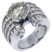 14k White Gold 6.74 Carats Round & Baguette Cut Diamond Engagement Ring