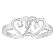 Sterling Silver 0.04cttw Diamond Fashion Promise Ring