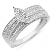 0.40 Carat (ctw) Sterling Silver Round Cut Diamond Marquise Frame Ladies Bridal Engagement Promise Ring