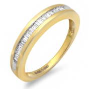 0.25 Carat (ctw) 18k Yellow Gold Plated Sterling Silver Baguette Diamond Ladies Bridal Anniversary Stackable Ring Wedding Band