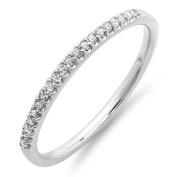 0.10 Carat (ctw) Dainty 10k White Gold Round Diamond Ladies Anniversary Wedding Band Stackable Ring