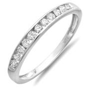 0.33 Carat (ctw) 10K White Gold Round Diamond Anniversary Wedding Band Stackable Ring