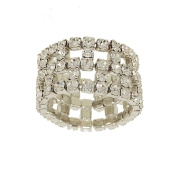 Clear Crystal Wide Five Row Stretch Eternity Band Ring