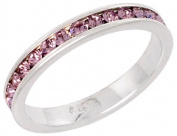 "Sterling Silver Eternity Band, w/ June Birthstone, Alexandrite Crystals, 1/8"" (3mm) wide, size 7.5"