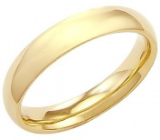 14k Solid Yellow Gold Plain Dome Wedding Ring Band 3MM - Size 7 - 3 Grammes