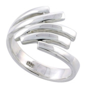 Sterling Silver Flawless Quality Contemporary Wire Ring Band, 1/2 in. (12.5mm) wide, size 6.5
