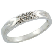 10k White Gold Ladies' Diamond Ring Band w/ 0.04 Carat Brilliant Cut Diamonds, 1/8 in. (3.5mm) wide, Size 5.5