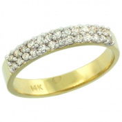 14k Gold 2-Row Diamond Ring Band w/ 0.31 Carat Brilliant Cut ( H-I Colour; SI1 Clarity ) Diamonds, 1/8 in. (3.5mm) wide, size 6