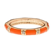 14K Gold Fill & Orange Enamel Stackable Ring - Band With CZ Accents Size 6