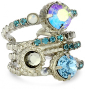 "Sorrelli ""Salt Water"" Stacked Circular Crystal Silver-Tone Adjustable Ring"