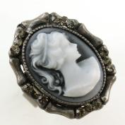 White Grey Cameo Ring Vintage Antique Style Stones Silver Tone Adjustable Size Band Designer Women Lady Fashion Jewellery