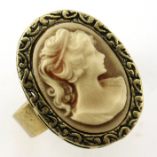 Light Brown Cameo Ring Vintage Antique Style Bronze Tone Adjustable Size Band Designer Women Lady Fashion Jewellery