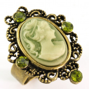 Olive Green Cameo Ring Vintage Antique Style Stones Bronze Tone Adjustable Size Band Designer Women Lady Fashion Jewellery