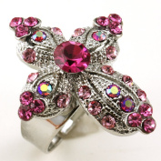 Fuchsia Hot Pink Cross Ring Crystal Stones Silver Tone Cocktail Adjustable Jewellery