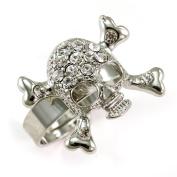 Clear Skull Crossbone Ring Crystal Stones High Polish Silver Tone Cocktail Adjustable Halloween Jewellery