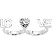 Size 6-7 Silver Tone Heart Love Double Finger Ring