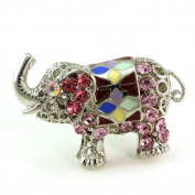 . Ladies Simple Pink Elephant Cocktail Ring Light Pink Crystal Adjustable Silver Tone Jewellery