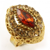 Light Brown Cocktail Ring Gold Tone Dark Brown Stones Adjustable Jewellery