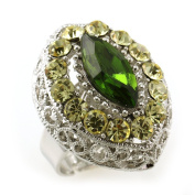 Yellow Green Cocktail Ring Silver Tone Lime Green Stones Adjustable Jewellery